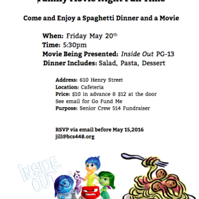 5/20 – Crew 514 presents Family Movie Night Fun Time Fundraiser!