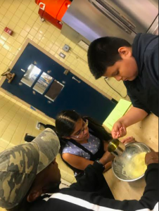 students making mayo
