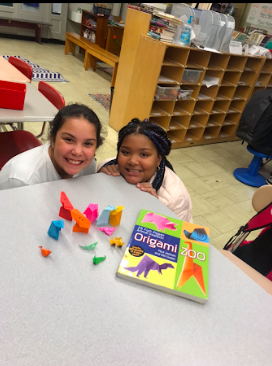 students and origami