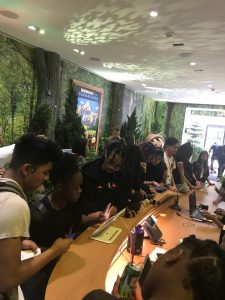 Students checking in at Salesforce
