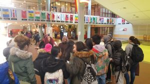 students visiting college campus