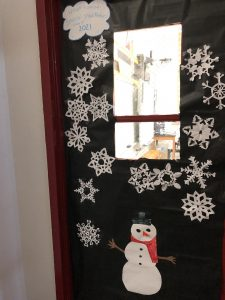 snowflakes on a door